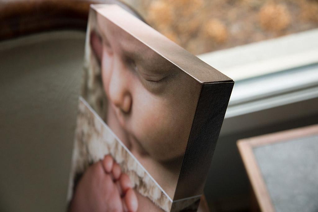 gallery wrap canvas newborn photography Oconomowoc