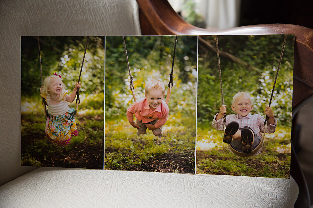 Triptych wall art storyboard Wisconsin family photographer