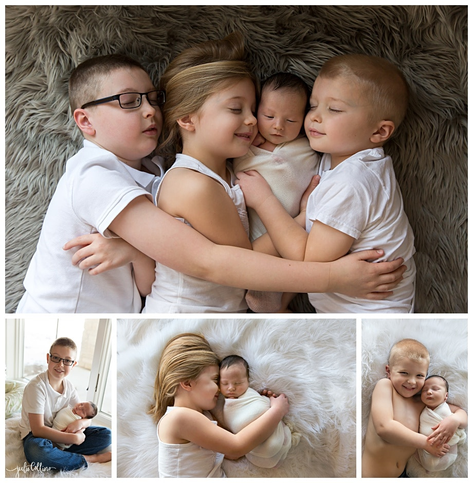 Newborn baby picture with siblings