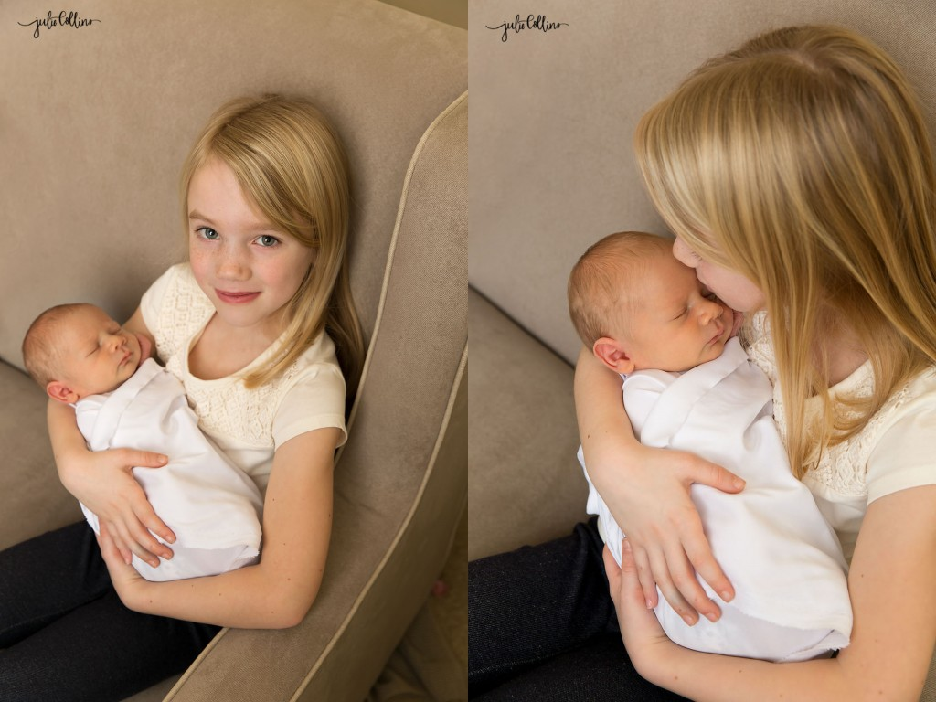 Big sister holding baby