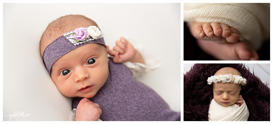 Newborn Baby girl born at home in purple