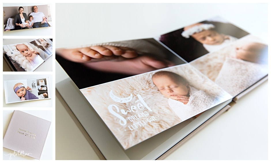 Newborn photography session photo album