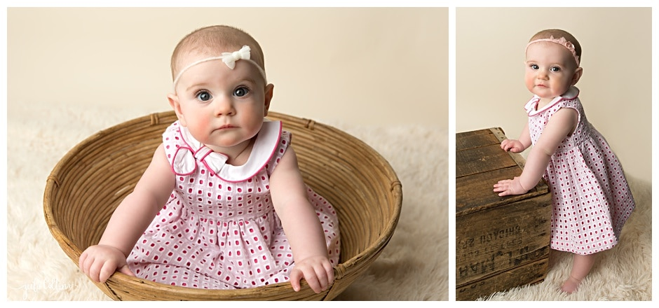 Picture of six month old girl milestone portrait