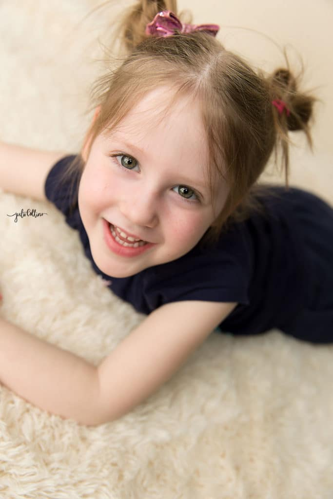 Three year old girl at milestone photography session