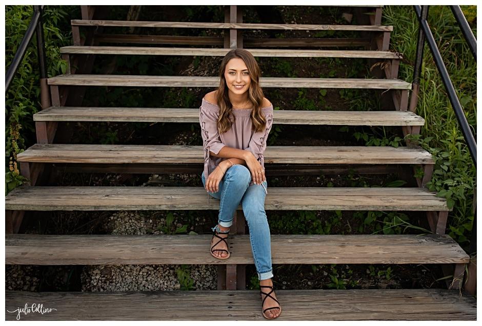 Senior girl sitting on steps