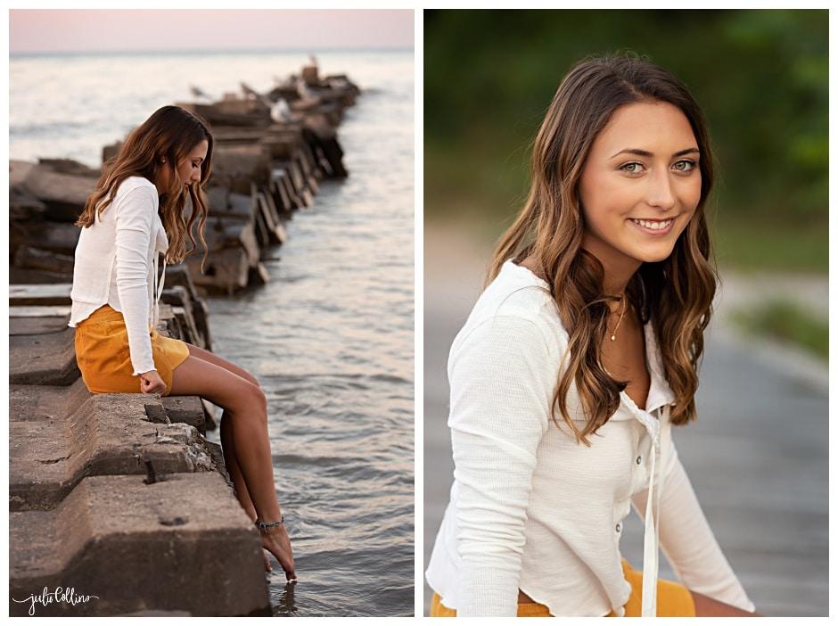 Senior girl sitting on pier