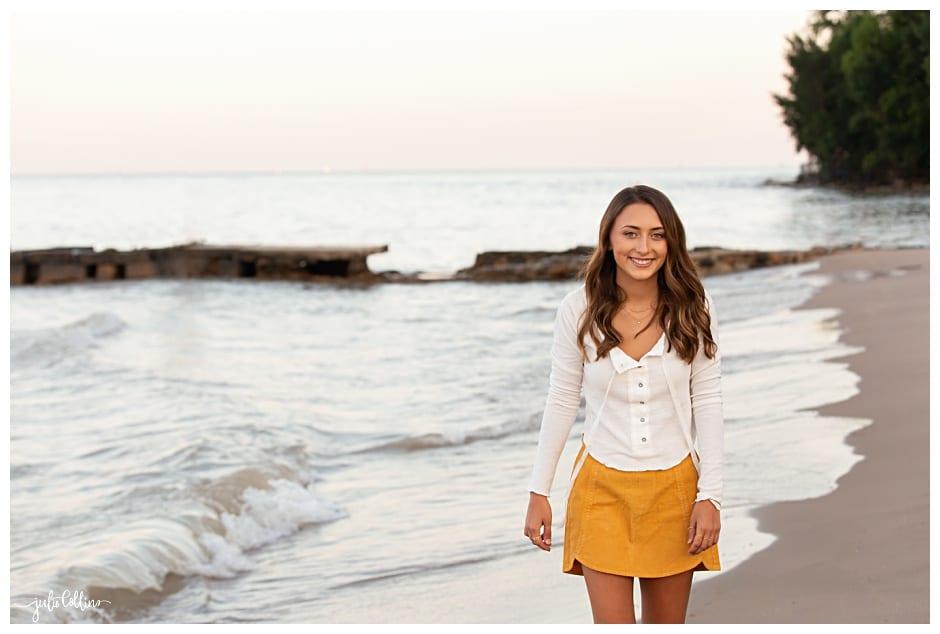 Senoir girl walking on beach