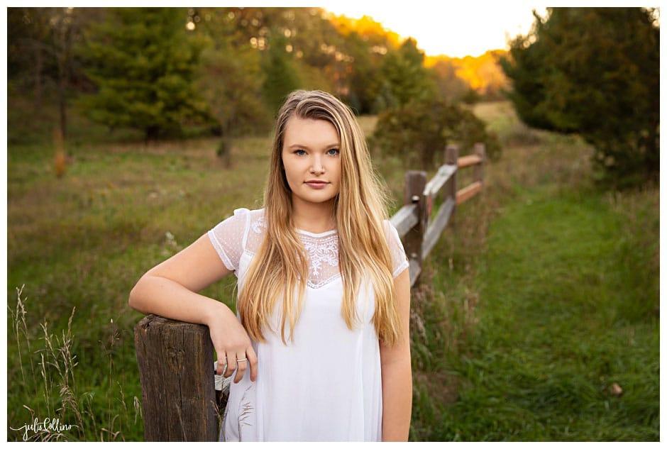 High school senior girl in field in Delafield, Wisconsin