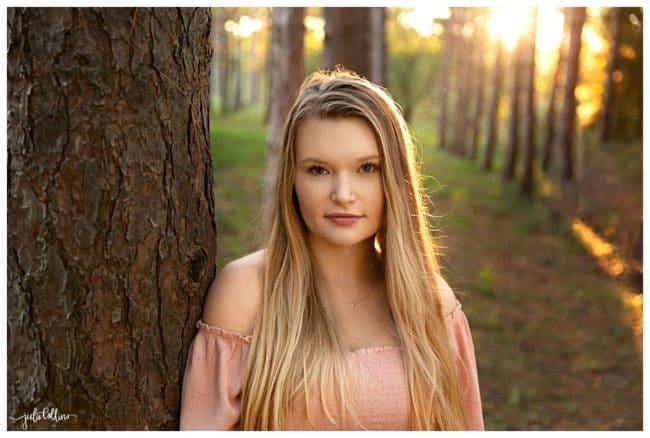 High school senior girl in forest in Waukesha Wisconsin
