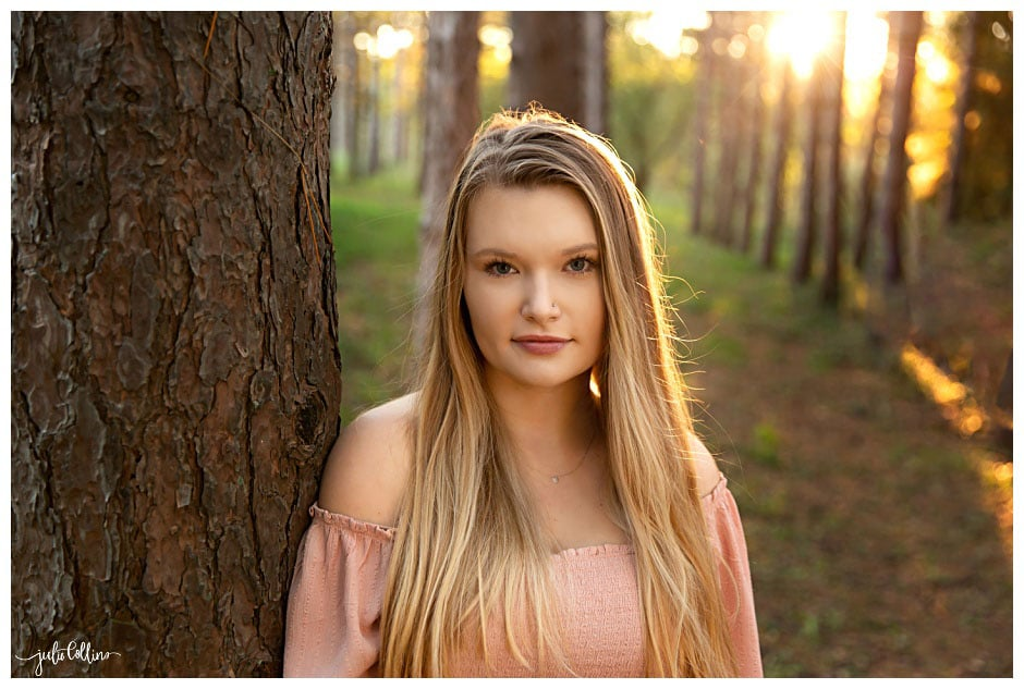 High school senior girl in forest in Waukesha Wisconsin