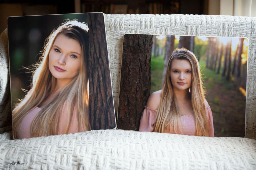 Two 16x20 wood prints of beautiful senior girl