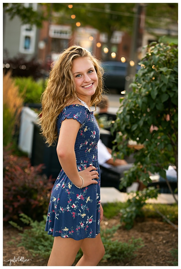 High school senior girl in urban setting