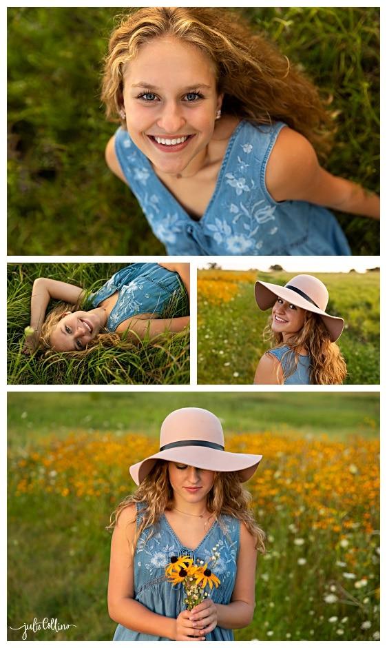 High school senior girl in field of yellow flowers