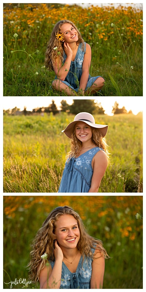 High school senior in field of yellow flowers at sunset