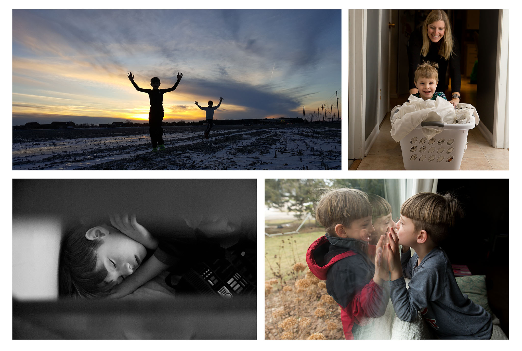 Four pictures of kids in everyday moments
