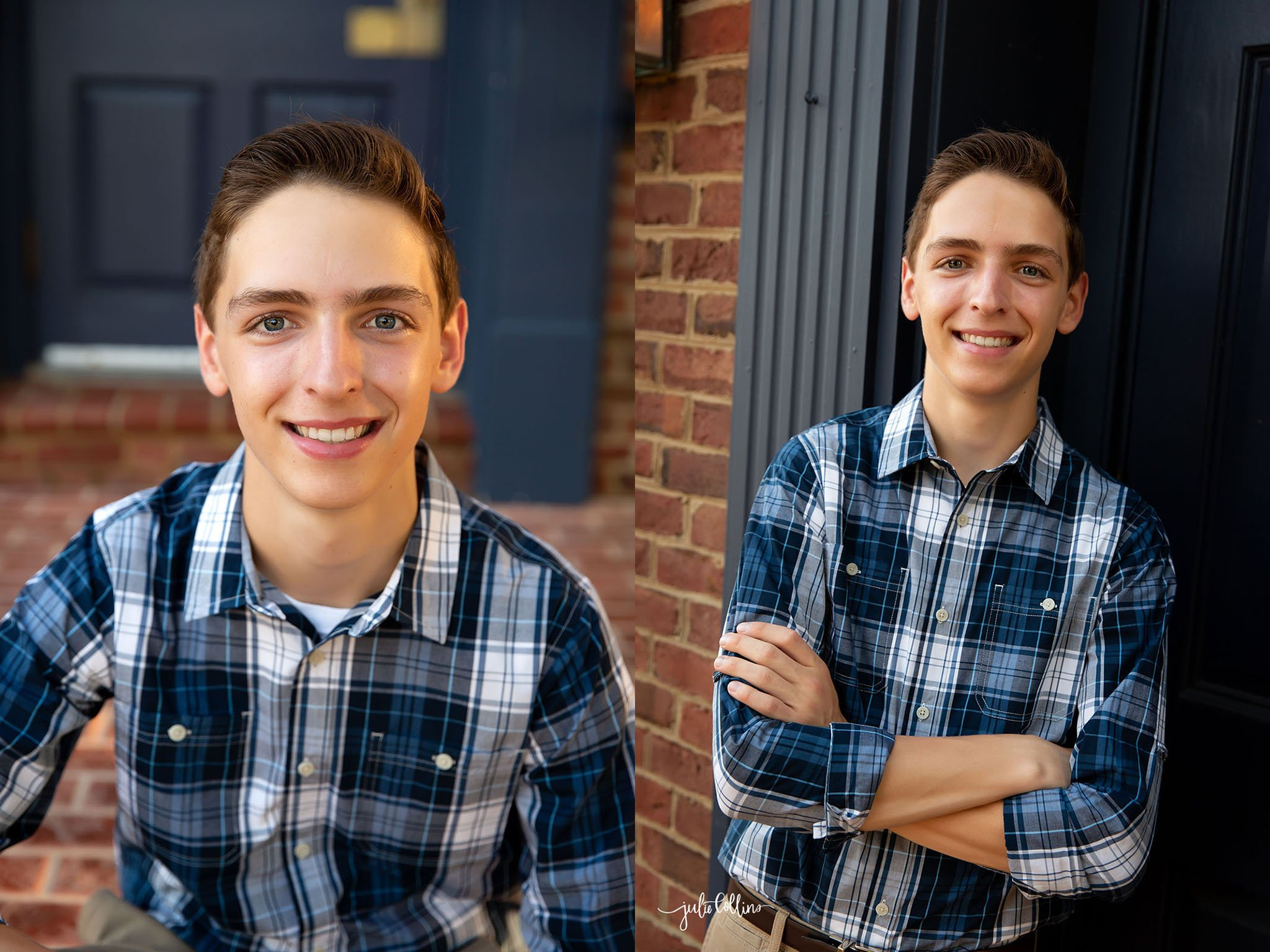 Oconomowoc High School senior boy smiling for camera downtown Delafield, Wisconsin