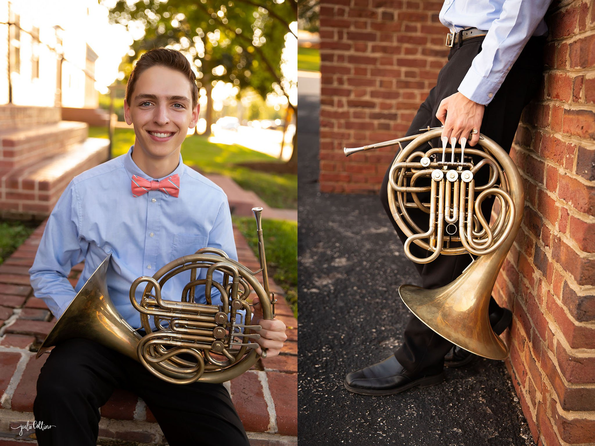 Oconomowoc High School senior boy with french horn smiling for camera downtown Delafield, Wisconsin