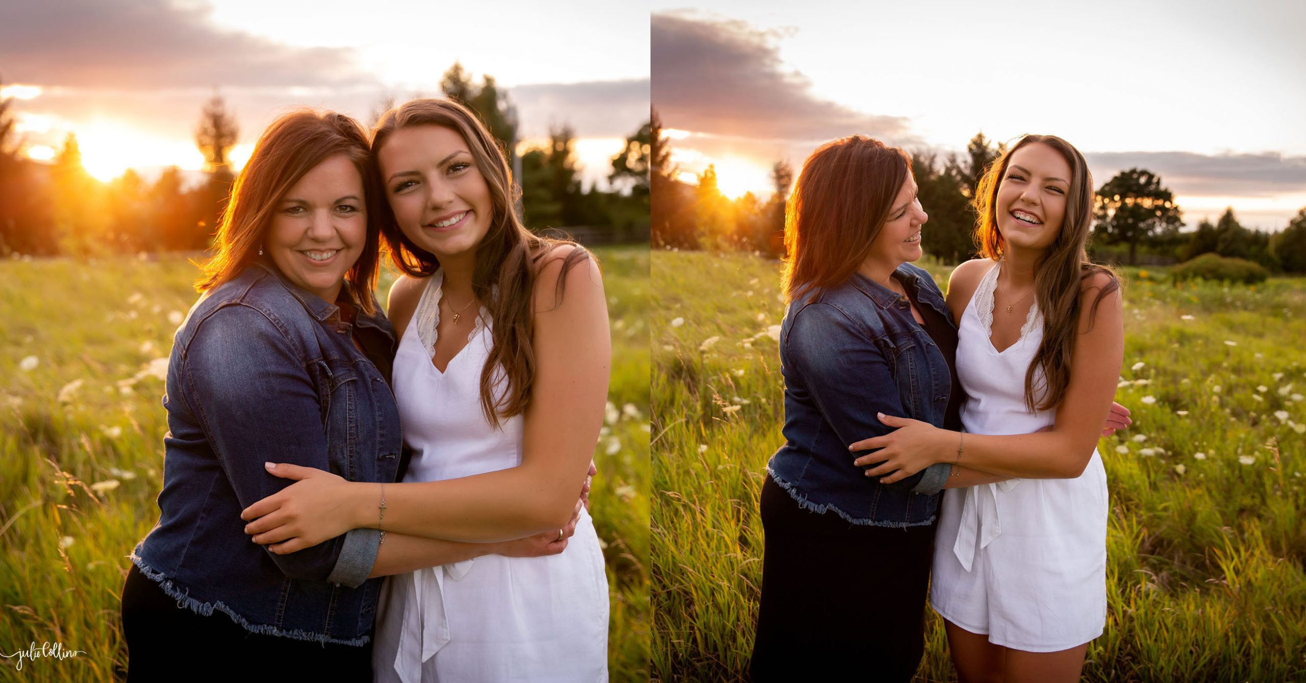 High school senior smiling with mom in field in Delafield, Wisconsin