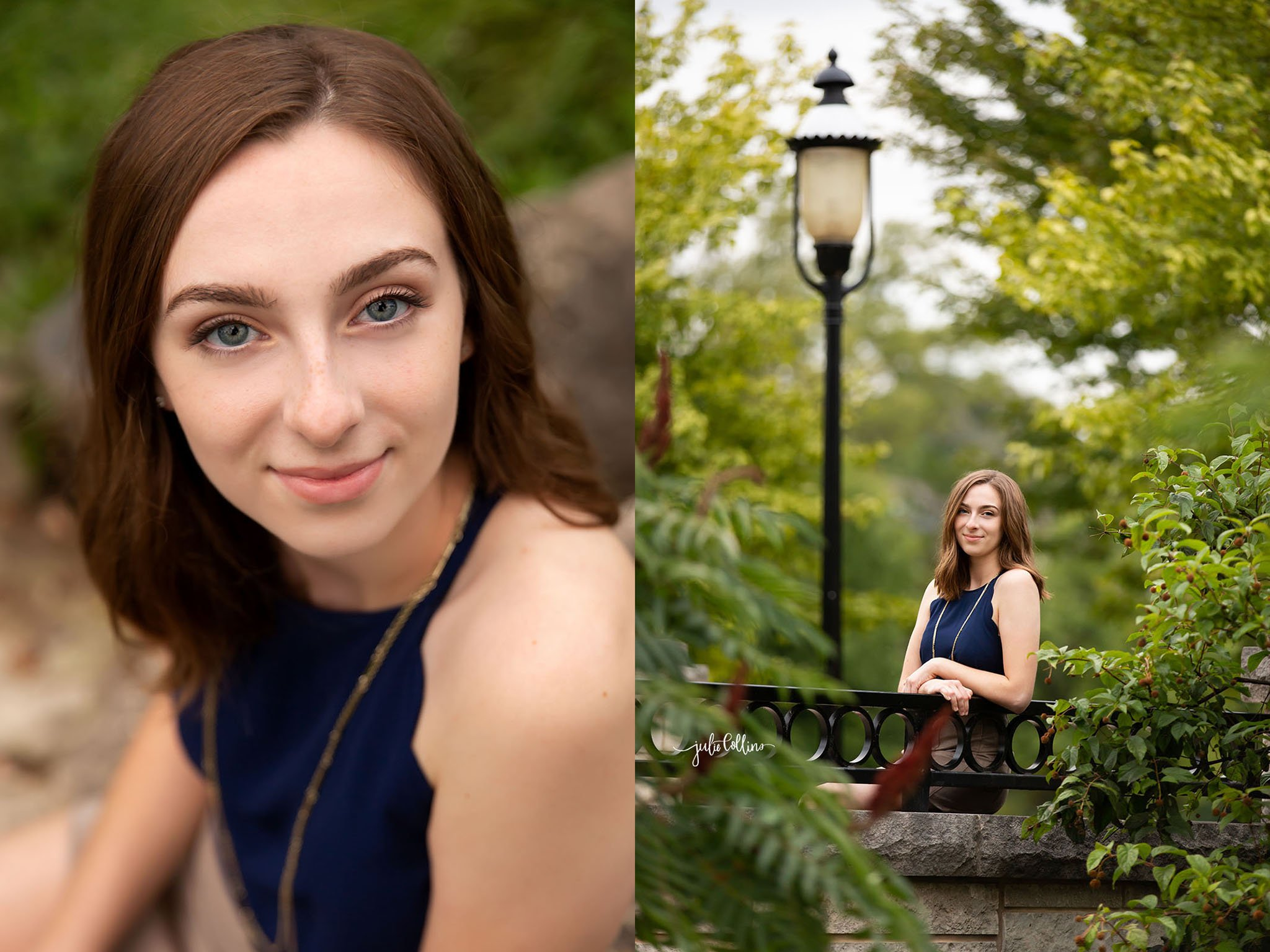 High school senior girl posing for camera in Frame Park in Waukesha, Wisconsin
