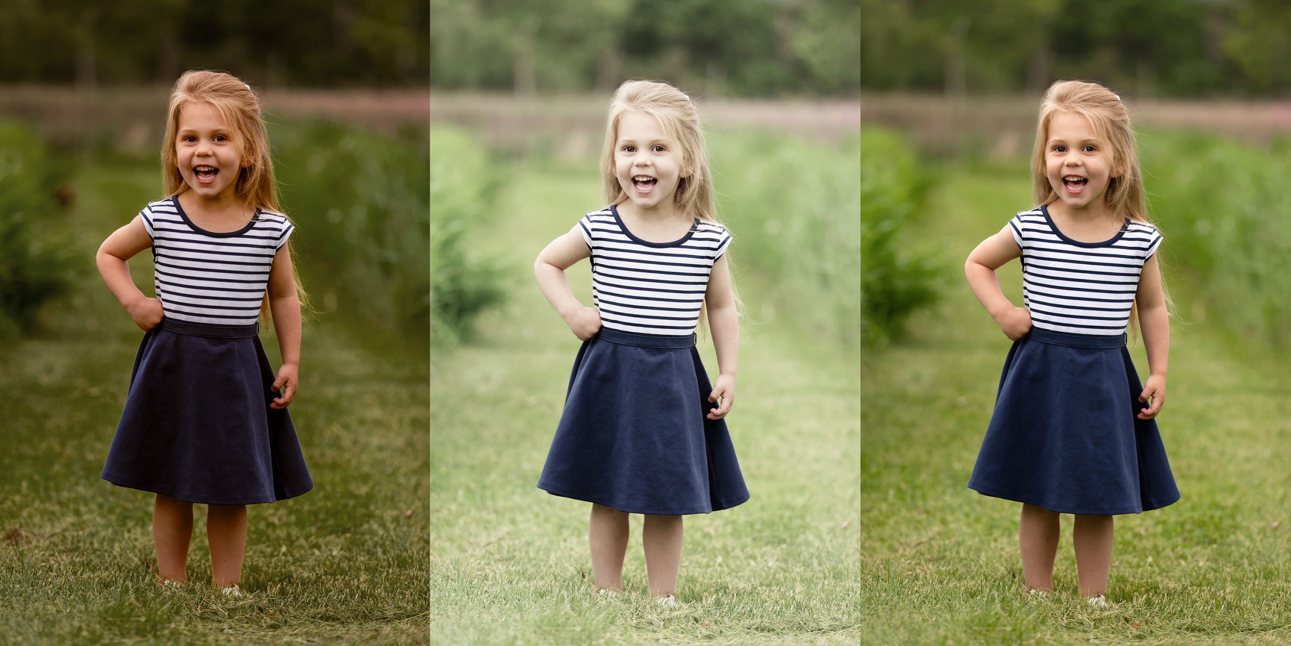 Three trendy photography edits demonstrated on image of four year old girl