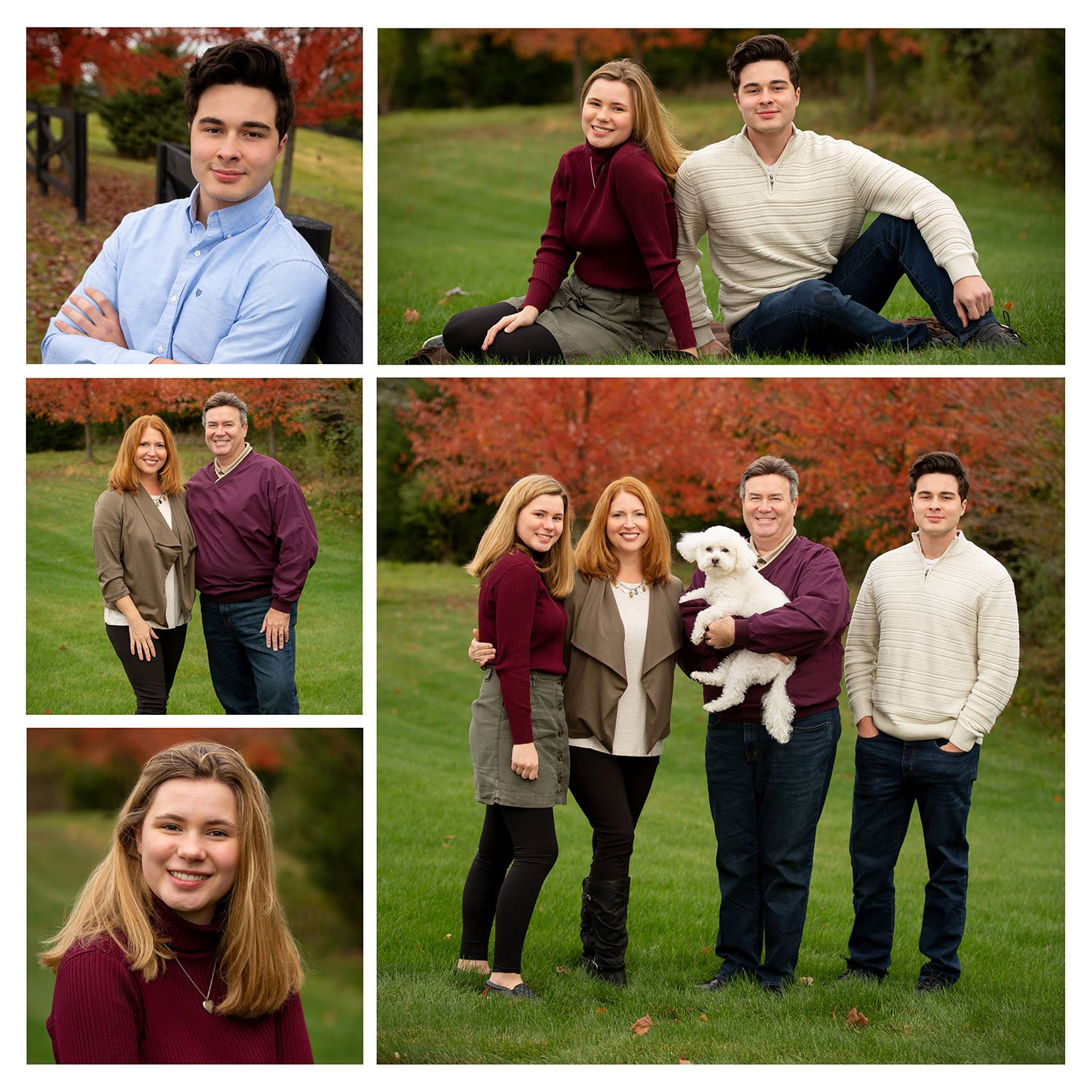 Family of four posing for photos in Oconomowoc, Wisconsin in the fall
