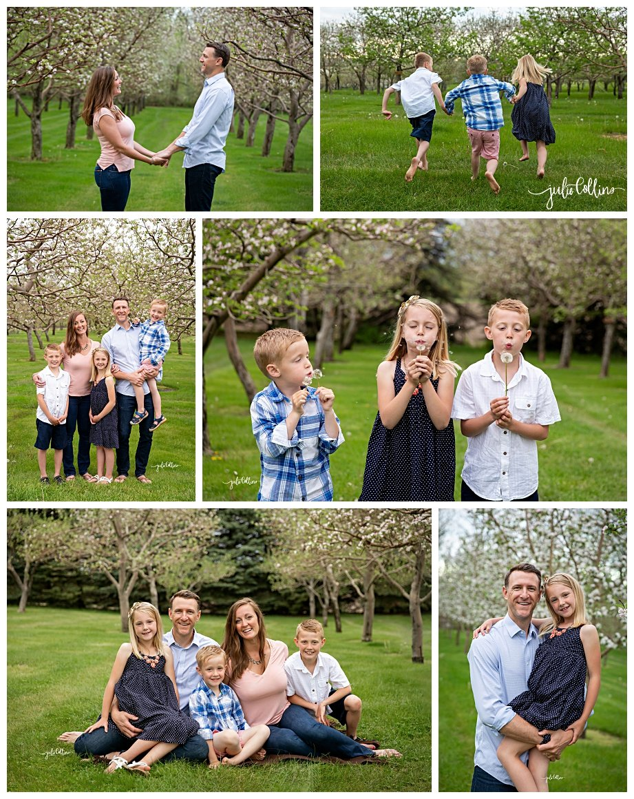 Family of five posing in Wisconsin apple orchard for family pictures