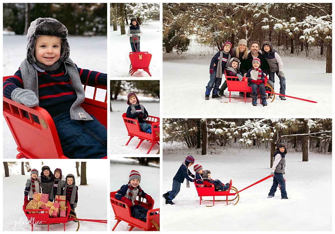 Family of six posing for pictures in winter in Oconomowoc, Wisconsin