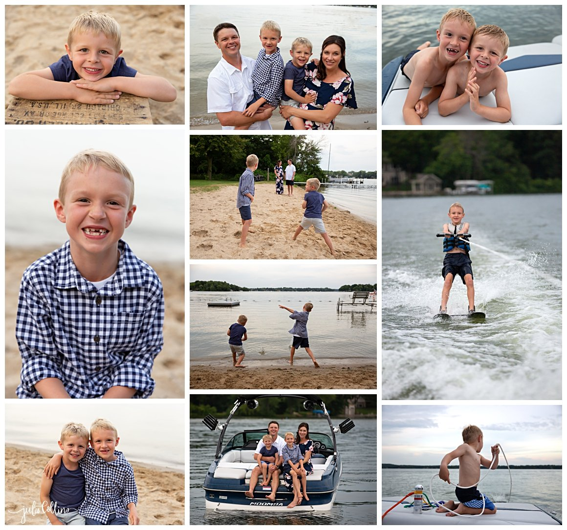 Family of four posing for family pictures in the summer on Okauchee Lake, Wisconsin