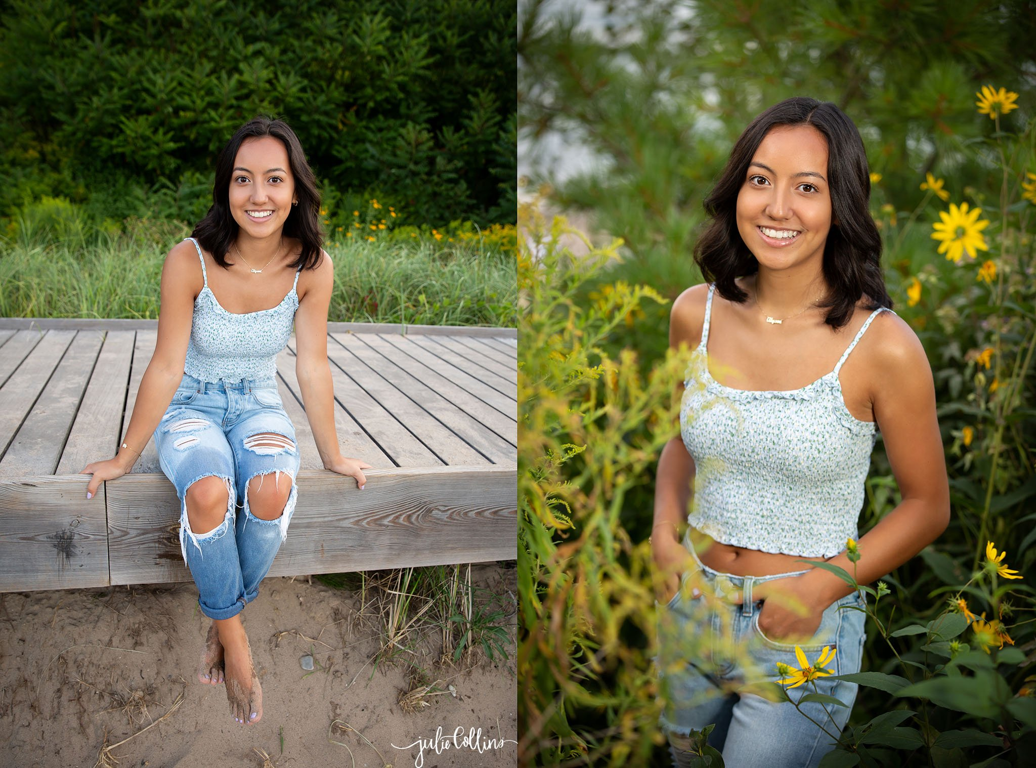 Senior girl in high school smiling for camera at Atwater Beach in Milwaukee, Wisconsin